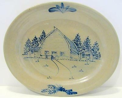 "Rowe Pottery Works 2005 14"" Wisconsin Barn Platter Salt Glaze Oval"