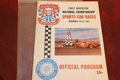 Rare 1957 1St National Championship Sport Car Races Riverside Program Must See**
