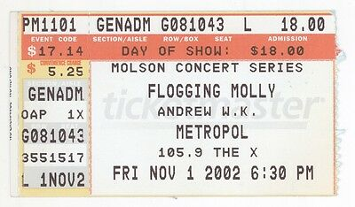 RARE Flogging Molly & Andrew WK 11/1/02 Pittsburgh Concert Ticket Stub! W.K.
