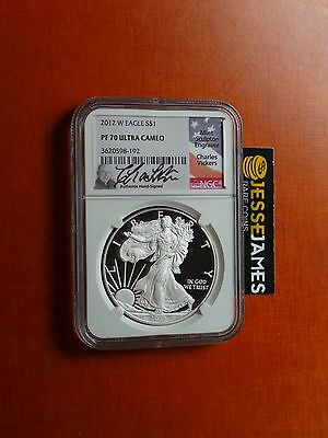 2012 W Proof Silver Eagle Ngc Pf70 Ultra Cameo Charles Vickers Signed Pop 2!