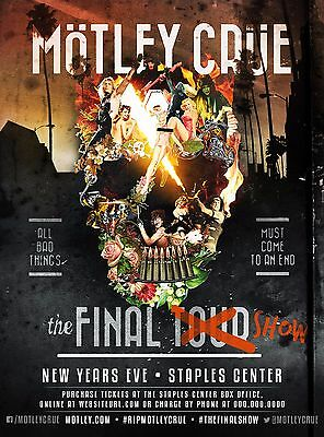 """Motley Crue """"the Final Show - New Years Eve"""" 2015 Los Angeles Concert Poster"""