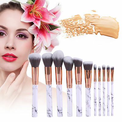 10pcs Kabuki Professional Make up Brush Set Foundation Blusher Face Powder New
