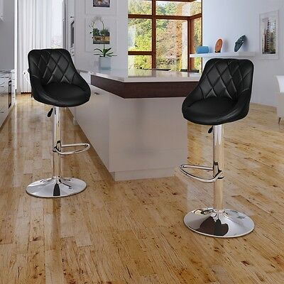 New 2pc Leather Bar Stool Black Kitchen Dining Chair Gas Lift Steel Adjustable
