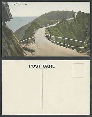 SARK LA COUPEE Street Scene Guernsey Channel Islands Old Hand Tinted Postcard CI