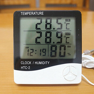 Thermometer Indoor Digital LCD Hygrometer Temperature Humidity Meter Alarm Clock