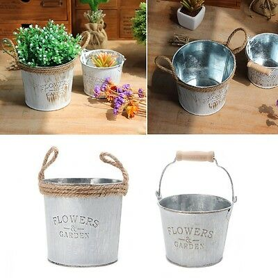 Vintage Metal Iron Flower Pot Hanging Balcony Garden Plant Planter Decor Pot