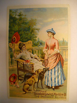 HOUSEHOLD SEWING MACHINE Antique Victorian trade card CHROMO 2 women dogs