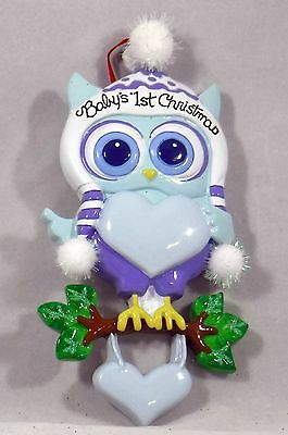 Baby's 1st Christmas Baby Boy Owl Christmas Tree Ornament new