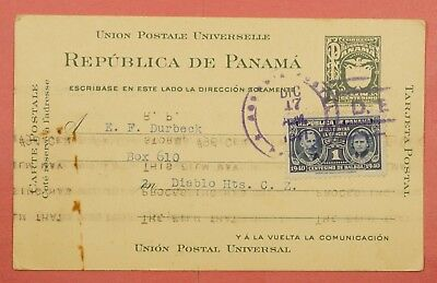 1941 Panama Uprated Postal Card Stationery To Canal Zone