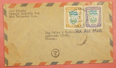 1953 El Salvador Multi Franked Airmail Cover To Panama