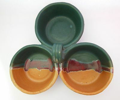 Tested By Fire Pottery Praise God Rob Joined 3 Bowl Serving Dish with Handle