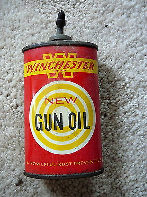 WINCHESTER NEW GUN OIL - Vintage 3 oz OVAL OILER LEAD TOP ADVERTISING TIN - VG