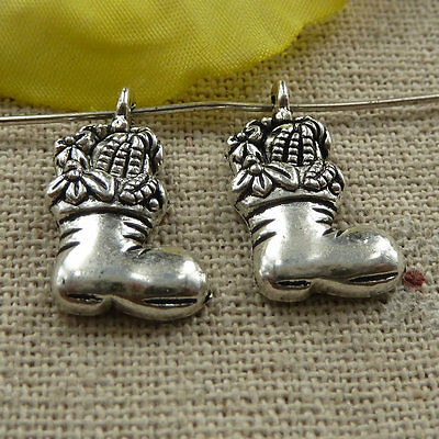 free ship 160 pieces tibetan silver boot charms 20x11mm #4064