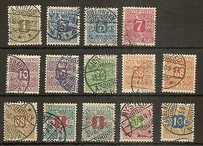 Denmark 1907 Newspaper Stamps Set of 10 Fine Used Cat£180+