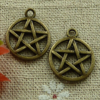 free ship 120 pieces Antique bronze star charms 20x17mm #2418