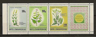 Albania 1988 Flowers Booklet Pane SG2376A MNH Cat£70