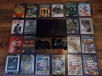 Fat Black Sony Playstation 2 Ps2 Console Full Set Up With 20 Games 2 Pads-Vgc