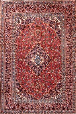 Deal Traditional Floral Hand Knotted Red 8x11 Mashad Persian Oriental Area Rug
