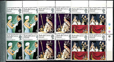 Turks & Caicos Islands 1977 Silver Jubilee MNH Corner Blocks Set #D51338