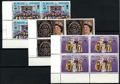 Belize 1977 Silver Jubilee MNH Corner Blocks Set #D51316
