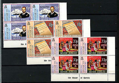 British Antarctic Territory 1977 Silver Jubilee MNH Corner Blocks Set #D51319