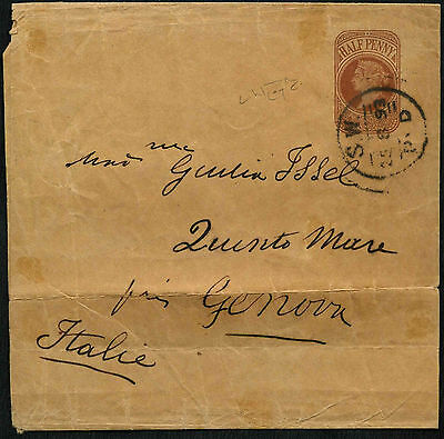 GB QV 1893, 1/2d Queen Victoria Wrapper To Italy #C42210