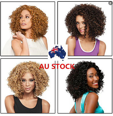 Afro Wigs Short Wavy Curly Brown Black Gold Hair Wig Fancy Dress Party Costume