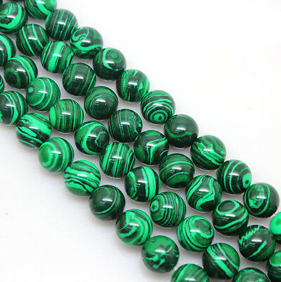 Natural Malachite Gemstone Round Spacer Loose Stone Charms Beads 4/6/8/10/12 mm