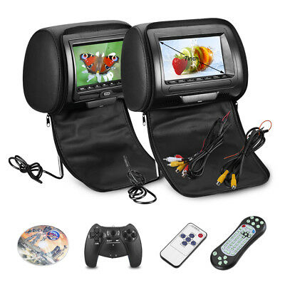 2×7″ TFT LCD Screen auto Pillow Headrest Monitor Game DVD/USB/SD Player IR/FM