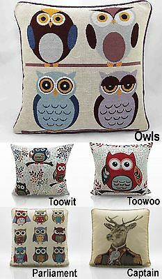 "Owl or Stag Scatter Cushion Cover Square Tapestry Weave 18"" x 18"""