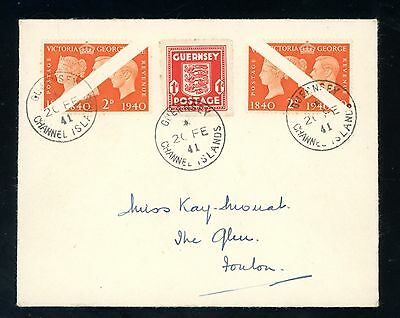 Guernsey 1941  Occupation Cover with 4 x 2d Bisects  unusual  (Jy365)