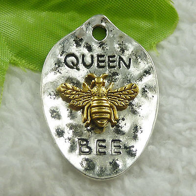 43x38mm Free Ship 20 pcs tibet silver gold plated QUEEN BEE charms pendant B4694