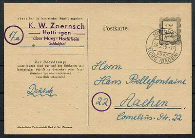 All. Besetz. Franz. Zone Behelf P835 IIa Hottingen Murg 24.2.46 ~ Aachen