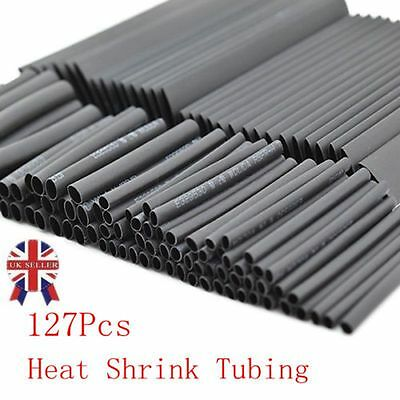 127Pcs Car Electrical Cable Heat Shrink Tube Tubing Wrap Sleeve 7 Sizes Black