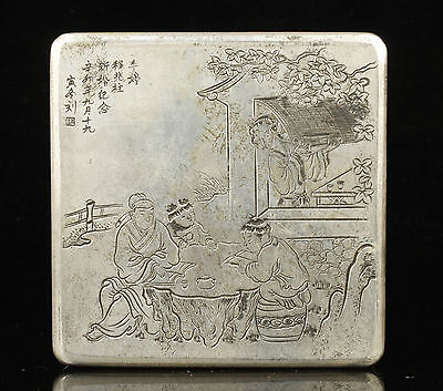 China Collectible Handwork  Carved Exquisite Characters Pattern Tibet Silver Box