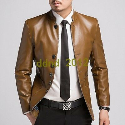 Men New Stand Collar Zipper Slim Fit Motorcycle Leather Jacket Coat Casual