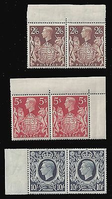 GB Great Britain Stamps 1939 KGVI 2s.6d-£1 Pairs (Sg 476-478) MNH £750