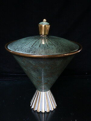 Early Israeli Bronze Brass  Pal Bell Art Deco container/vase Green Patina