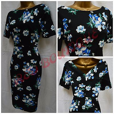 New George Dress Shift Floral Navy Blue White Party Office Summer Size 8 - 24