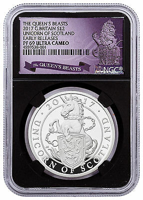2017 Britain 1 oz Silver Queen's Beasts Scotland Unicorn NGC PF69 UC ER SKU48190