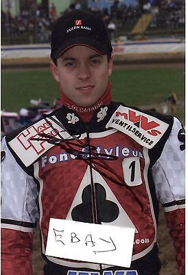 Signed Speedway Photo. Kenneth Bjerre (Belle Vue)