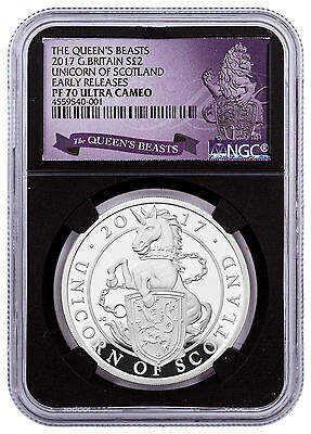2017 Britain 1 oz Silver Queen's Beasts Scotland Unicorn NGC PF70 UC ER SKU48192