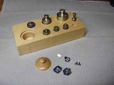 VINTAGE APOTHECARY BRASS WEIGHTS, Wood Box, Complete Set