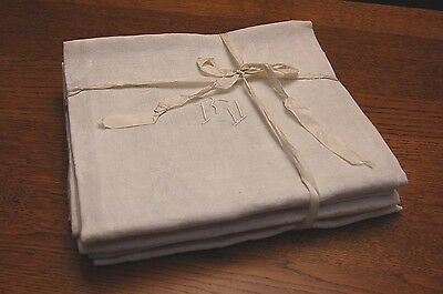 "6 Antique French Pure Linen Damask Napkins VF Monogrammed Serviettes 25 x 31"" XL"