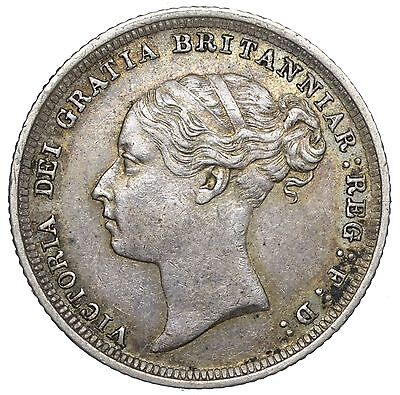 1887 Young Head Sixpence - Victoria British Silver Coin - V Nice