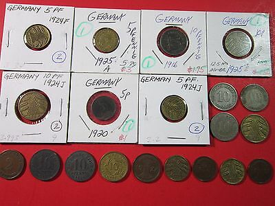 Germany. Empire And Weimar Republic. Vintage Lot Of Assorted 20 Coins. See Pic