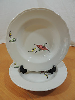 FLOATING LEAVES by Sterling USA Restaurant Ware 2 Soup Bowls Black Stamp E
