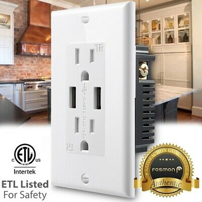 Fosmon 2 Outlet Tamper Resistant TR Receptacle 15 A Wall Plate + 2 4.2A USB Port