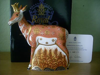 "Royal Crown Derby ""pronghorn Antelope"" Paperweight Ltd Edition Gold Box & Cert."