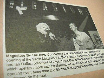 CYNDI LAUPER cuts ribbon at Virgin San Francisco original music biz promo pic/tx